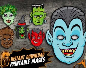 PRINTABLE Monster Halloween Masks, 6 kids DIY paper halloween masks, vampire frankenstein medusa wolfman devil witch, instant download pdf