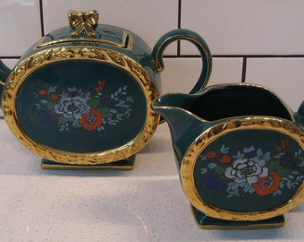 Vintage Large Emerald Green Sadler Barrel Teapot & Creamer - c 1937-47 - Gold - Bow Lid - Handpainted - Repaired handle