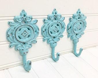 Decorative Wall Hooks/Coat Hooks/Shabby Chic/Wall Hook/Towel Hook/Light Blue/French/SSLID0239/Nursery Hook/Cast Iron Decor