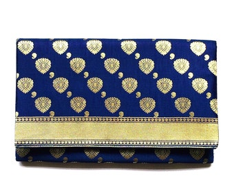 Indian Design Print Fabric Clutch Bag - Navy and Gold