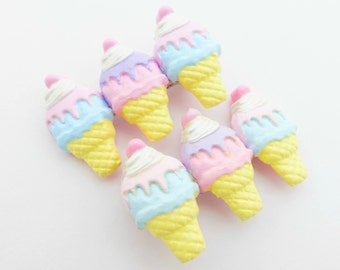 Hand-painted Ice Cream Hair Clip - Kawaii Hair Accessory - Sweet Lolita Hair Barrette - Miniature Food - Set of 2