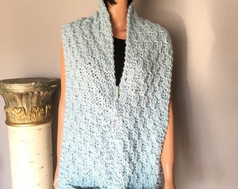 Hand Knit Hat Scarf Beanie Slouch Seafoam Designer Fashion Hip Chic Winter Ski Snowboard  Female Gift