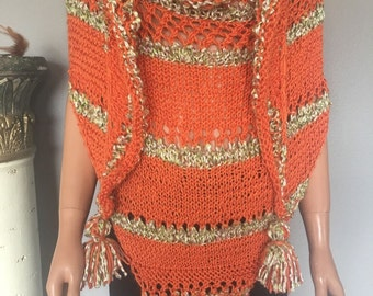 Triangle Shawl Hand Knit Spring Summer Women Extra Large Orange Green Designer Fashion Hip Chic  Gift Birthday Prayer Wedding Church Stylish