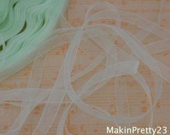 Sheer Organza Ribbon 10mm 3/8 x 5 Pastel Green R029