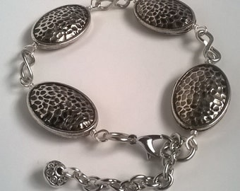 Silver Plated Hammered Beaded Bracelet