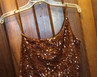 EXPRESS // Brown Sequins // Single Strap Top