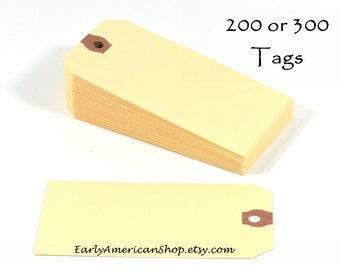 "Your Choice of 200 or 300 Manila Shipping Tags-4-3/4"" x 2-5/16""-Paper Gift Tags-Manila Hang Tags-Packaging Supplies"