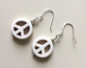 Peace Sign Earrings - White Peace Sign Dangles - Peace Sign - Boho Dangles - Gypsy Jewelry - Valentines Boho Gift Earrings - White Turquoise