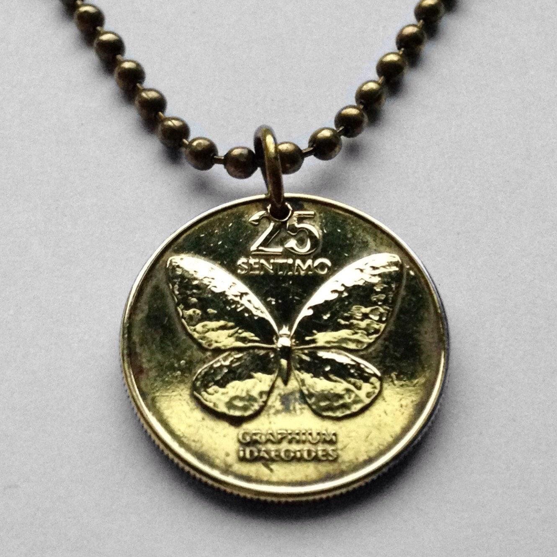 philippines 25 sentimo coin pendant swallowtail
