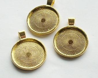 3 x Antique Gold Round Bezel Cabachon Setting Pendants 35mm
