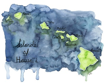 "Watercolor Hawaiian Islands Print - Painting titled, ""Islands of Hawaii"", Hawaii, Hawaii Art, Map, Hawaii Map, Hawaiian Decor, Map Art"