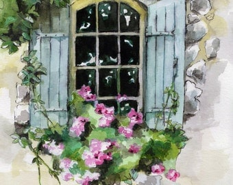 "Window Painting - Print from Original Watercolor Painting, ""Old Window"", Old Window, Window Decal"