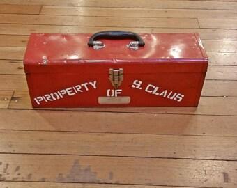 Santa's Red Metal Tool Box