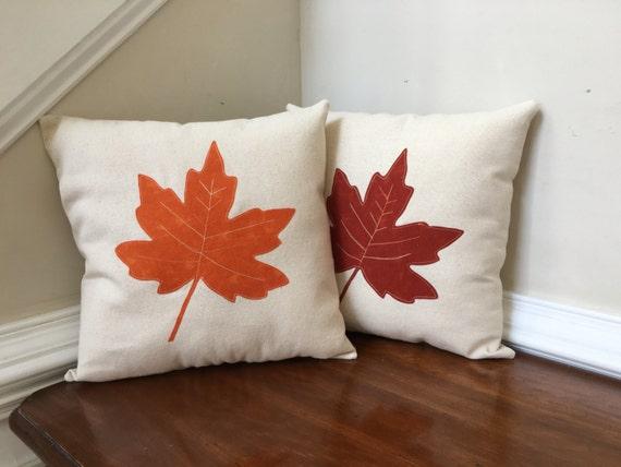 Fall Decorative Pillows Leaf Appliqué Pillows