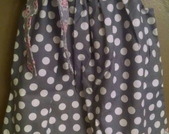 Grey / white polka dot pillowcase dress