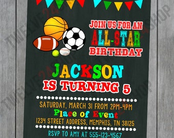 Chalkboard Sports Birthday Invitation - Sports Birthday Theme - Printable Birthday Invitation