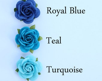Blue rose flower embellishments - decorations for favors, cards, thank you tags, gift tags, wedding decorations and more