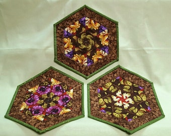 Kaleidoscope Quilted Mug Rugs, Floral Hexagon Coasters, Candle Mats, Mini Placemats, Unique Coffee Table Decor