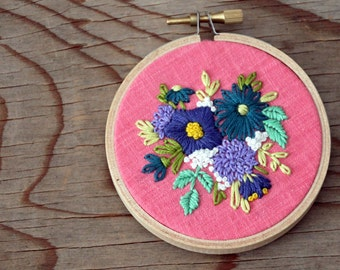 Floral Bouquet Embroidery Hoop Art - Blue Spring Flowers on Pink - 3 Inch Hoop