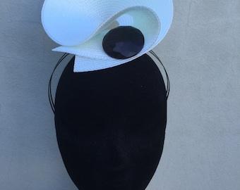 White and Black Button Fascinator