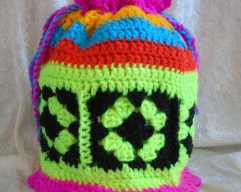 Funky Drawstring hand Crocheted bag, Fully Lined
