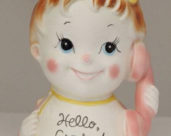 "Vtg Hello Grandpa Head Vase Inarco Baby Girl on Telephone Never Used 6"" Tall"