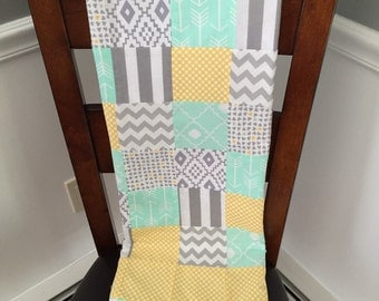Gender Neutral green, yellow, gray baby blanket