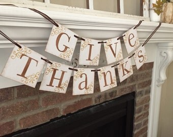Fall Signs • Thanksgiving Banner • Fall Decorations • Fall Banner • Fall Leaves • Give Thanks • Thanksgiving Decorations