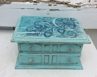 French Robin's Egg Blue Jewelry Box, Vintage Shabby Chic Distressed Blue Jewelry Chest, French Country Jewelry Box, Ooak Jewelry Storage