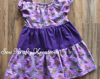 Children's Size4 - Purple Butterfly Spring Dress