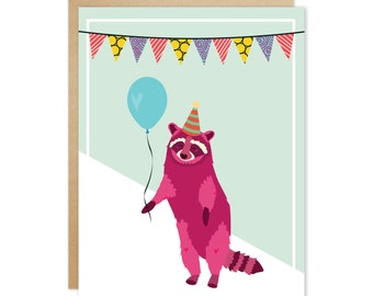 Handmade Blank Greeting Card – Party Animals Series (Red Raccoon)