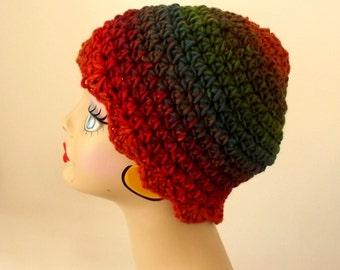 Crochet Hat, Ladies Hat, Wool Hat, Green, Teal, Orange, Brown, Winter Hat, Ski Cap, See Matching Scarf
