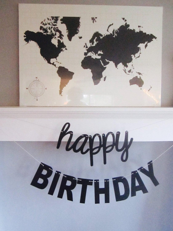 happy birthday banner contemporary design cursive
