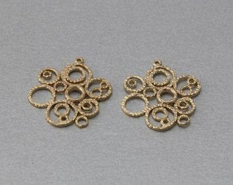 Bubbles Brass Pendant . Matte Gold Plated . 10 Pieces / C3146G-010