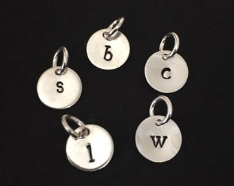 Initial Charm, Sterling Silver, Add-On Initial Disc Charm, Hand Stamped Initial Charm, Delicate Initial Charm, Personalized Charm, Add-On