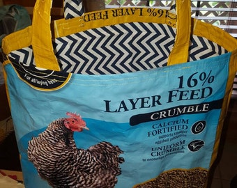 Recycled feed sack handbag, purse, tote with a chicken & bandana liner inserted
