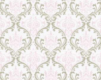 Pink and Taupe Damask Fabric - By The Yard - Girl / Vintage / Fabric