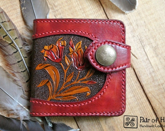 leather wallet/ tooling leather/ handmade/flower/modern/red wallet/