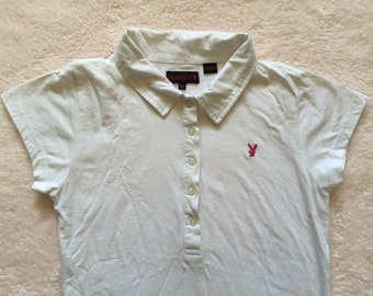 PLAYBOY white polo wit pink bunny / 10