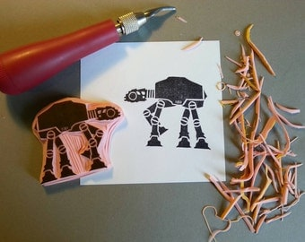 Star Wars AT AT Walker Hand Carved Rubber Stamp