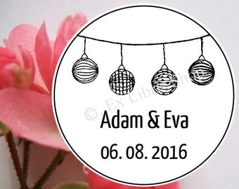 """Personalized wedding stamp """"round paper lanterns"""", wedding, wedding DIY, name stamp, personalized stamp, save the date stamp, 853"""