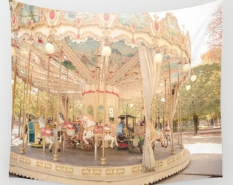 Paris Carousel Wall Tapestry, Paris Wall Art, Carnival Photo Tapestry, Nursery, Baby's Room, Infant's Room, Dorm