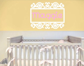 Monogram, Name Wall Frame Name  or Monogram Wall Decal, Nursery, Room Wall Art, Many Color Choices