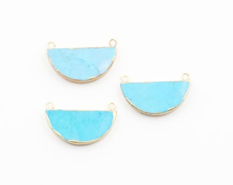 Half Moon Turquoise Connectors -- With Electroplated Gold Edge Charm Wholesale handmade craft supply CQA-022