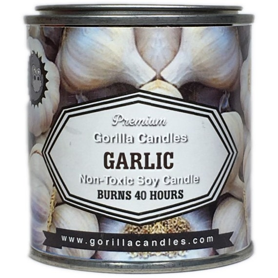 Garlic Scented Candle fresh garlic 12 ounce soy wax in 1/2 pint paint can with lid