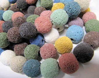 Lava Beads, All Natural, Multi Color, 14 MM, Use With Essential Oils, Diffuser Beads, Diffuser Pendant, Diffuser Balls, 28 Beads