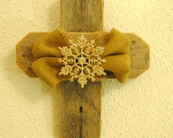 Holiday Rustic Cross with Burlap