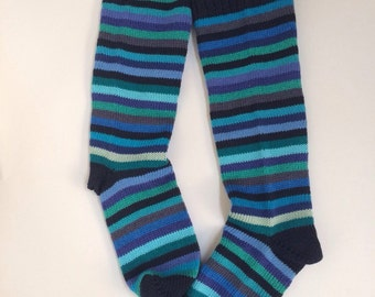Rich ocean blues striped all cotton women's socks to fit UK size 4-6, Eur 37-39 feet  vegan, UK