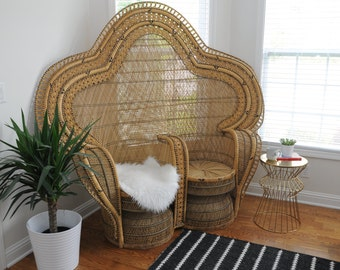 Large Double-seat Wicker Chair from 1970's
