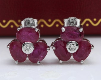 3.85CTW Natural African Ruby & Diamond in 14K Solid White Gold Stud Earrings